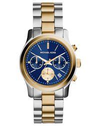 Michael Kors - Metallic Women'S Chronograph Runway Two-Tone Stainless Steel Bracelet Watch 38Mm Mk6165 - Lyst