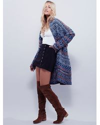 Free People - Blue Womens Iona Pattern Cardi - Lyst
