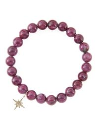Sydney Evan - Red 8Mm Natural Ruby Beaded Bracelet With 14K Gold/Diamond Small Starburst Charm (Made To Order) - Lyst