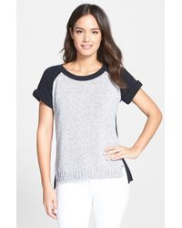 Lafayette 148 New York | Blue Cotton Raglan Sleeve Sweater | Lyst