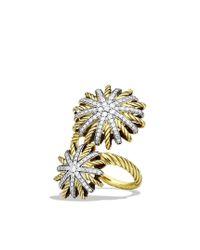 David Yurman   Metallic Starburst Open Ring with Diamonds in Gold   Lyst
