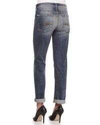 7 For All Mankind - Blue Josefina Destroyed Vintage Denim Jeans - Lyst