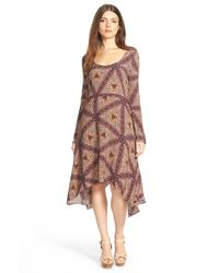 Plenty by Tracy Reese | Purple Scarf Print Midi Dress | Lyst