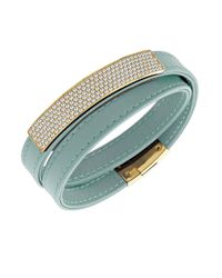 Swarovski | Blue Vio Crystal And Leather Wrap Bracelet | Lyst