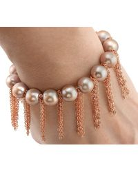 Anne Sisteron - Metallic Rose Pearl Bracelet With Rose Gold - Lyst