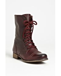 Steve Madden | Brown Troopa Lace-Up Leather Boots | Lyst