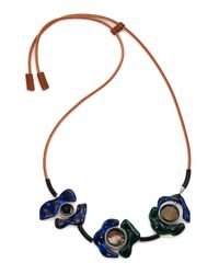 Marni | Blue Abstract Beaded Horn & Leather Necklace | Lyst