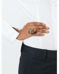 Alexander McQueen | Metallic Harness Skull Cocktail Ring | Lyst