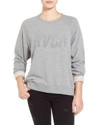 RVCA | Gray 'jagged' Tonal Logo Sweatshirt | Lyst