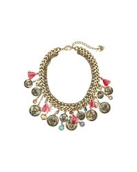 Betsey Johnson | Metallic Cameo Critters Coin Tassel Necklace | Lyst