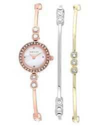 Anne Klein - Metallic Round Bangle Bracelet Watch Set - Lyst