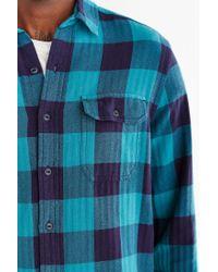 Stapleford - Blue Herringbone Buffalo Plaid Flannel Workshirt for Men - Lyst