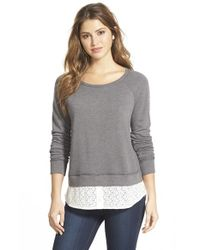 Caslon | Gray Lace Shirttail Hem Sweatshirt | Lyst