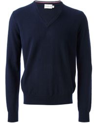 Moncler - Blue Knit Sweater for Men - Lyst