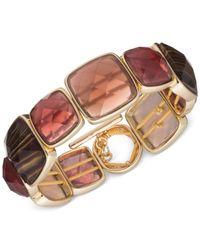 Anne Klein | Metallic Gold-tone Faceted Stone Stretch Bracelet | Lyst