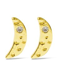 Kevia - Metallic Gold-plated Cubic Zirconia Earrings - Lyst