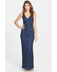 Sue Wong | Blue V-neck Embroidery & Bead Overlay Gown | Lyst