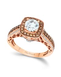 Le Vian | Metallic Chocolate and White Diamond Engagement Ring in 14k Rose Gold 112 Ct Tw | Lyst