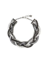 BCBGMAXAZRIA | Metallic Braided Stone Detail Necklace | Lyst