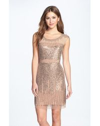 Adrianna Papell | Pink Illusion Yoke Beaded Sheath Dress | Lyst