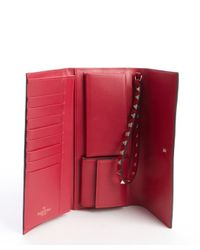 Valentino - Pink Rose Leather 'Rockstud' Studded Detail Wallet - Lyst
