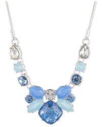 Nine West | Metallic Silver-tone Blue Multi-bead And Crystal Necklace | Lyst