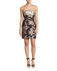 ABS By Allen Schwartz - Pink Floral Strapless Dress - Lyst