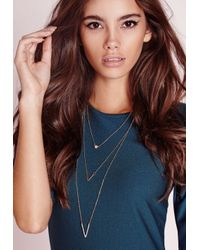 Missguided | Metallic 3 Layer Chevron Necklace Gold | Lyst