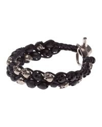 Tobias Wistisen | Black Skull Braided Bracelet for Men | Lyst
