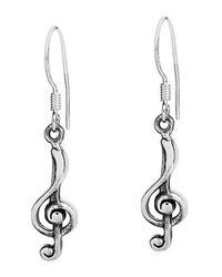 Aeravida | Metallic Trendy Music Treble Clef Sterling Silver Dangle Earrings | Lyst