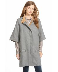 Caslon | Gray Cotton Twill Zip Front Cape | Lyst