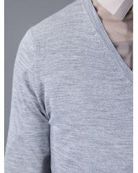 Burberry - Gray V-Neck Sweater for Men - Lyst
