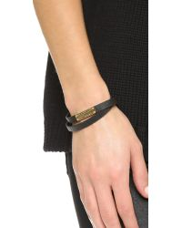 Marc By Marc Jacobs | Black Standard Supply Leather Id Bracelet - Garnet | Lyst