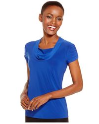 Tahari | Blue Short-sleeve Draped Ruched Top | Lyst