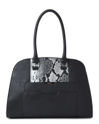 Nine West - Black & Grey So Snake Satchel - Lyst