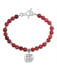 Aeravida | Metallic 'be You' Special Inspirational .925 Silver Pendant And Coral Bracelet | Lyst