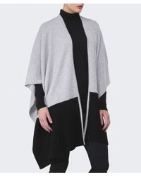 Duffy - Gray Contrast Cashmere Wrap - Lyst