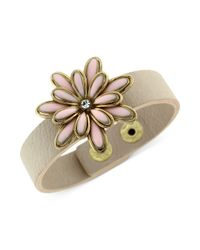 Jessica Simpson - Metallic Goldtone and Taupe Band Primrose Snap Bracelet - Lyst