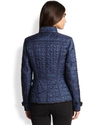 Burberry Brit - Blue Laycroft Leather-Detail Quilted Jacket - Lyst