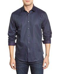 Bugatchi - Blue Classic Fit Long Sleeve Stripe Sport Shirt for Men - Lyst