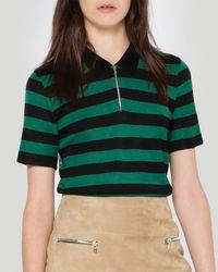 Sandro - Green Tee - Tender Striped - Lyst
