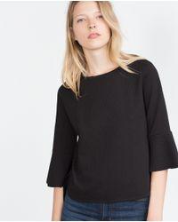 Zara | Black Jacquard Top | Lyst