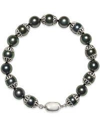 Macy's - Black Tahitian Pearl (8mm) Bracelet In Sterling Silver - Lyst