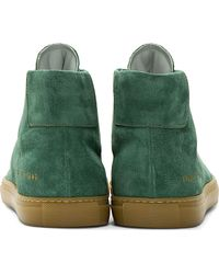 Common Projects - Green Suede Achilles High_top Sneakers for Men - Lyst
