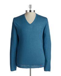Strellson - Blue V-Neck Knit Pullover for Men - Lyst