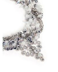 Assad Mounser   Metallic Teardrop Crystal Pendant Multi Chain Necklace   Lyst