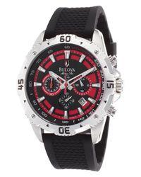 Bulova | Men's Marine Star Chronograph Black Rubber Black And Red Dial | Lyst