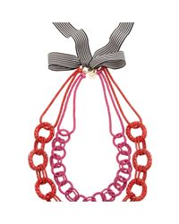 Trina Turk - Colored Chain W Ribbon Necklace - Lyst