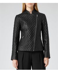 Reiss - Black Merlot Quilted Leather Jacket - Lyst