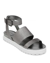 BCBGeneration | Metallic Ellis Leather And Mesh Platform Sandals | Lyst